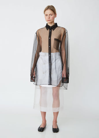 Tulle Button Front Oversized Shirt