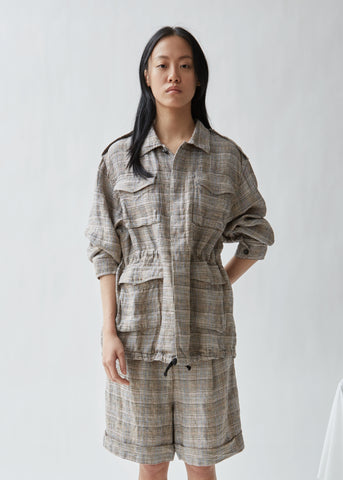 Safari Plaid Linen Jacket