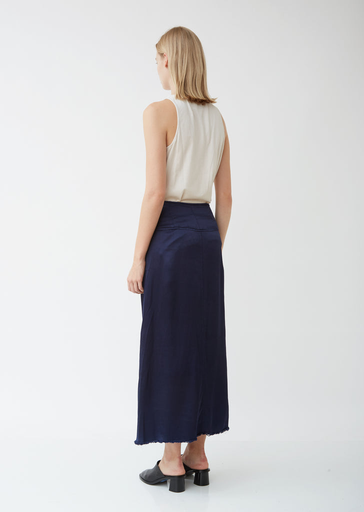 Pebble Satin Button Front Skirt