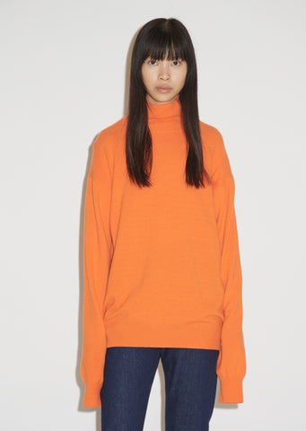Wool and Cashmere Logo Turtleneck Sweater