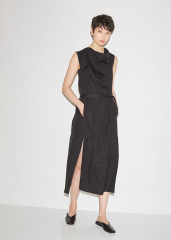 Sleeveless Cotton Cowl Neck Dress