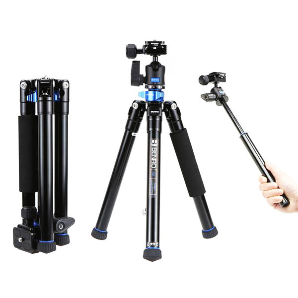 2 in 1 Portable Aluminum Alloy Tripod Selfie Stick Monopod for iPhone and Smartphones