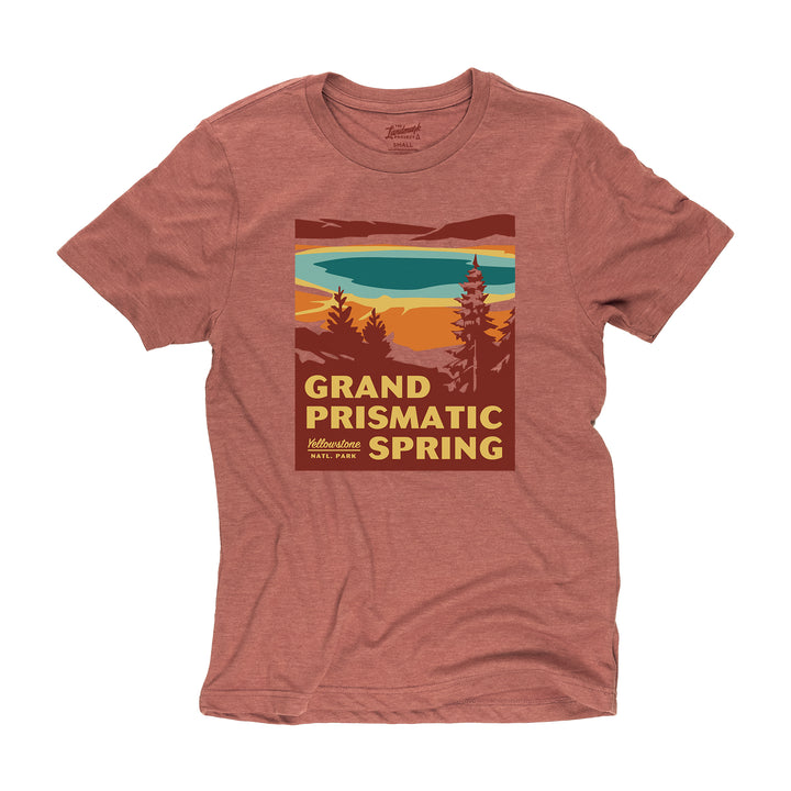 Grand Prismatic Spring t-shirt in red rocks