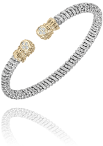 Oval Shaped Diamond Tips Open Bracelet