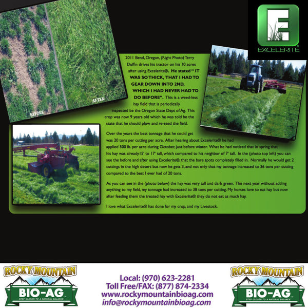 Bend Oregon Terry Duffin Old Grass Hay Revived Testimonial EXCELERITE Calcium Montmorillinite Clay Trace Elements and Minerals - Rocky Mountain Bio-Ag