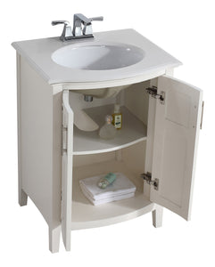 Winston 24 inch Rounded Front Bath Vanity with Bombay White Engineered Quartz Marble Top