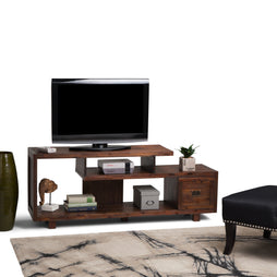 Monroe Solid Acacia TV Media Stand in Distressed Charcoal Brown