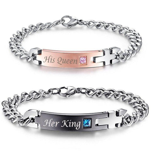 |His Queen| And |Her King| Titanium Couple Bracelets || Free Shipping Today Only