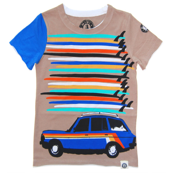 Surfboard Tower Station Wagon T-Shirt by: Mini Shatsu
