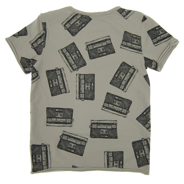 Allover Boom Box Baby T-Shirt by: Mini Shatsu Essentials