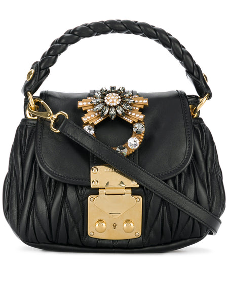 Mini Black Matelassé Bag
