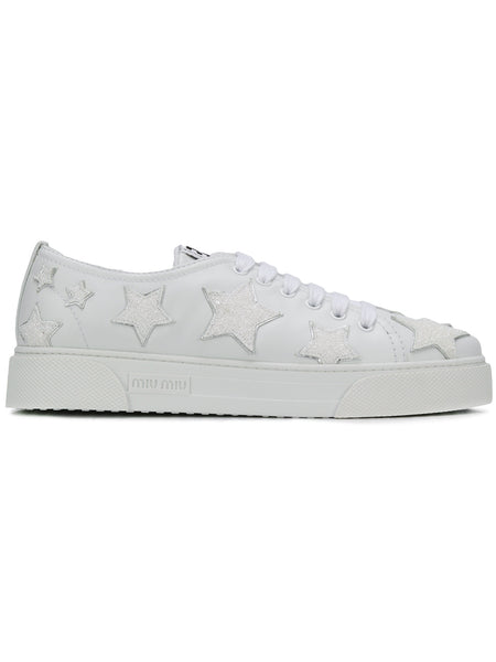 White Leather Embellished Star Sneakers