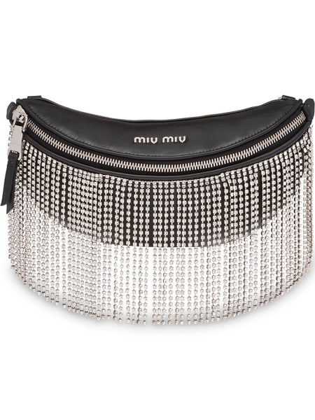 Crystal Embellished Fringed Belt Bag
