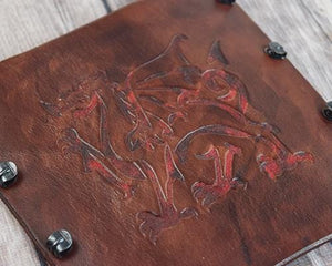 Bracer Arm Guard leather Welsh Dragon Brown