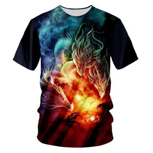 Herogameszone 3-Dragons 3D T-Shirt Short Sleeve S 3D T-Shirt Short Sleeve