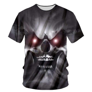 Herogameszone A Wicked Skull 3D T-Shirt Short Sleeve S 3D T-Shirt Short Sleeve