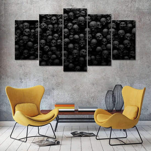 Black & White Skulls Canvas Printed Wall Art