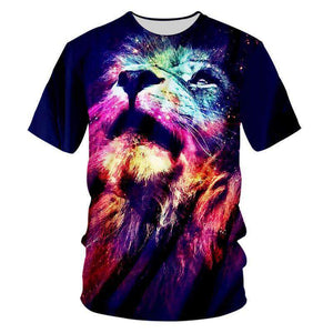 Herogameszone Colorful Lion 3D T-Shirt Short Sleeve S 3D T-Shirt Short Sleeve