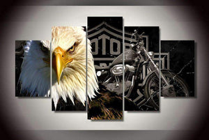 Herogameszone Eagles Motorcycle Canvas Printed Wall Art Medium / No Frame Canvas Printed Wall Art