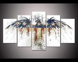 Herogameszone USA Flag Eagle Canvas Printed Wall Art Medium / No Frame Canvas Printed Wall Art