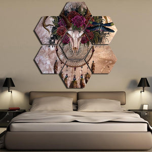 Antelope Skull Dreamcatcher Canvas Printed Wall Art