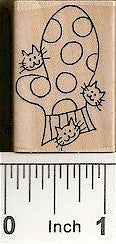 Mitten / 3 Cats Rubber Stamp 2553E