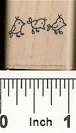 3 Birds Face Right Rubber Stamp 2565C