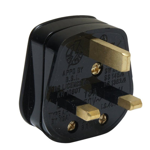 Mains Plug Blk fitted with 13 Amp Fuse Screw Cable Clamp PA330