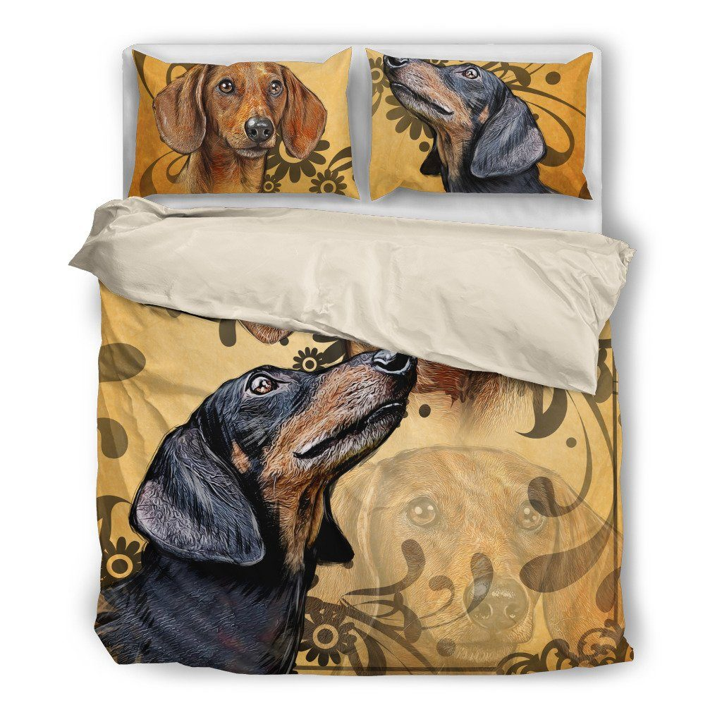 Onlinepresales Dachshund 4 Dog Design Bedding Set Hypoallergenic Duvet Cover  Microfiber Twin/Queen/ King Size Bed Sheet with 2 Pillow Covers