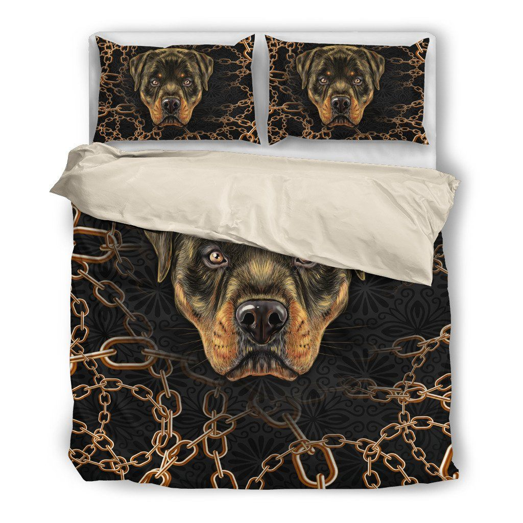 Onlinepresales Rottweiler Lover 4 Dog Design Bedding Set Hypoallergenic Duvet Cover  Microfiber Twin/Queen/ King Size Bed Sheet with 2 Pillow Covers
