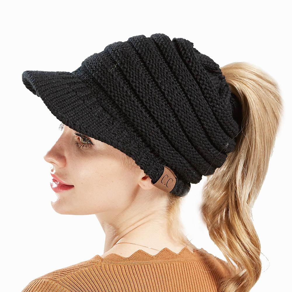 Winter Knitted Ponytail Wool Cap
