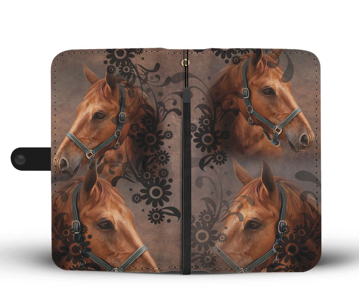 Hand Crafted I Love Horses Wallet Case