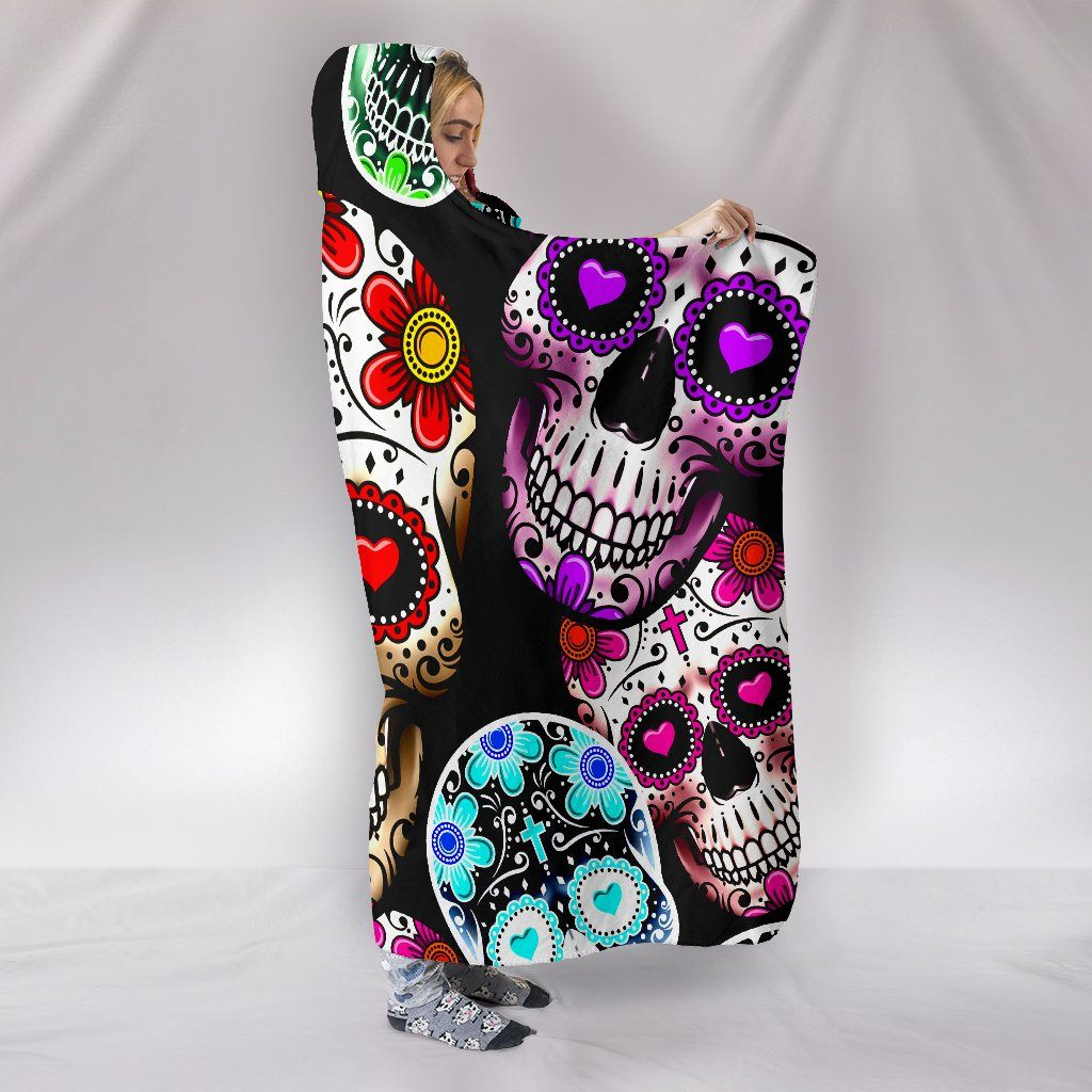 SUGAR SKULL NEON HOODED BLANKET