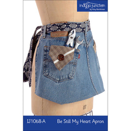 Be Still My Heart Recycled Denim Jean Apron Digital PDF Pattern