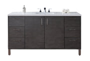 James Martin 850-V60S-SOK-3SHG Metropolitan 60 Inch Silver Oak Single Vanity with Shadow Gray Quartz Top