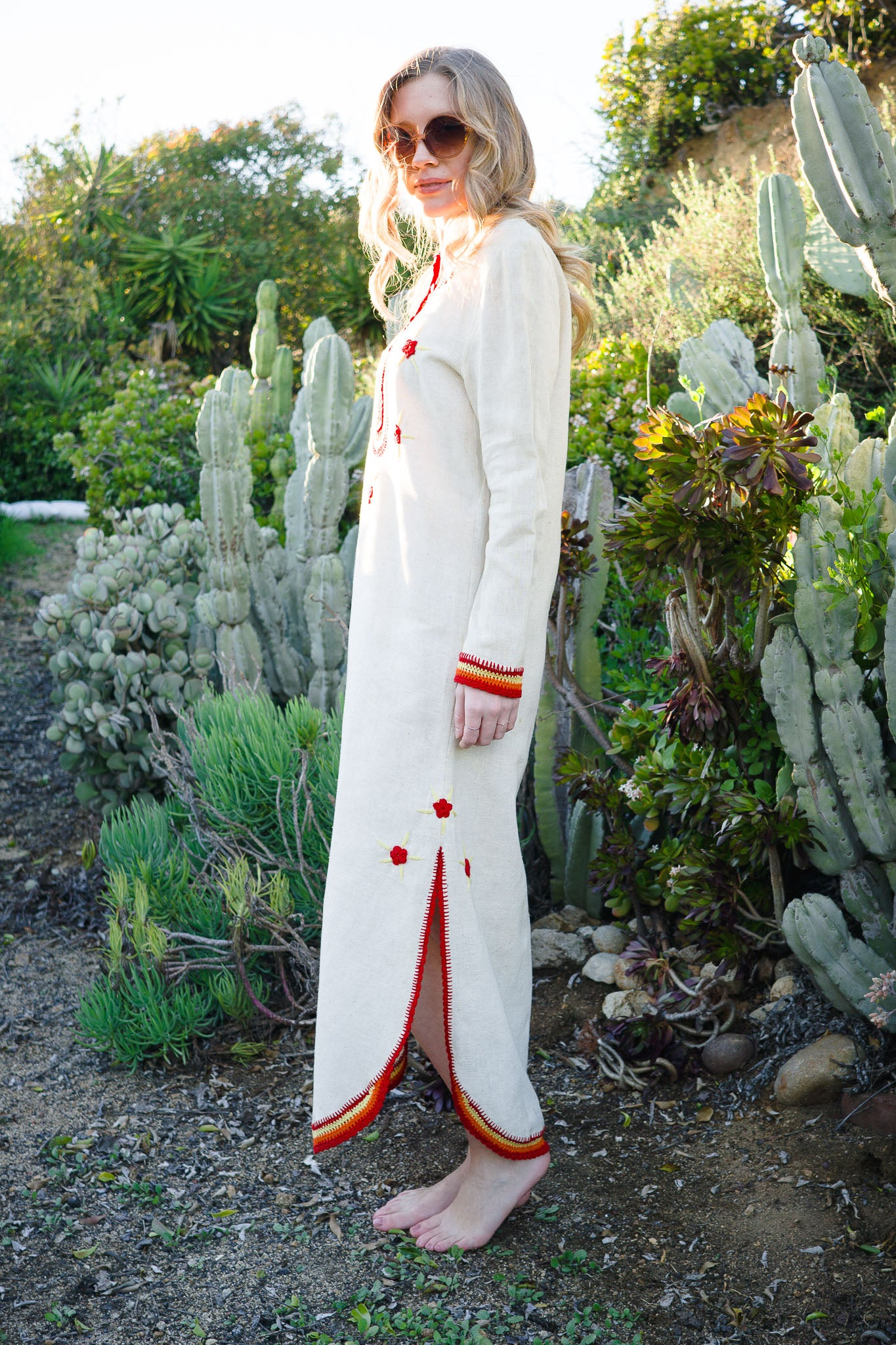 Vintage Embroidered Linen Caftan - The Canyon