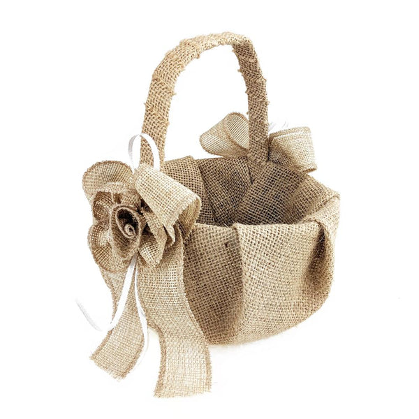 12 Pack, Burlap Flowers and Bows Flower Girl Basket, 7-1/2-Inch, Natural