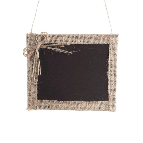 12-Pack, Hanging Chalkboard Frame with Burlap Border, 6-Inch