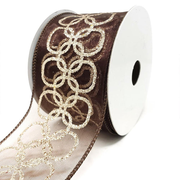 12 Pack, Glitter Chain Circles Sheer Wired Ribbon, Brown, 2-1/2-Inch, 10-Yard