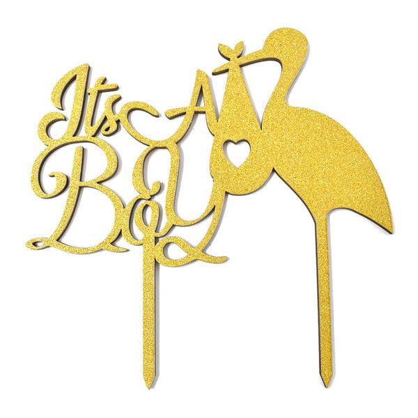 12-Pack, It's A Boy Baby Shower Glitter Cake Topper, 6-1/2-Inch