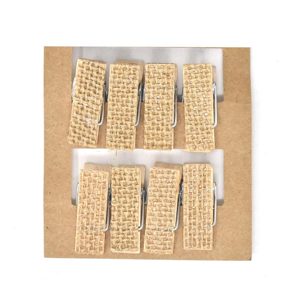 12 Pack, Burlap Clothespin, Natural, 1-1/4-Inch, 8-Count