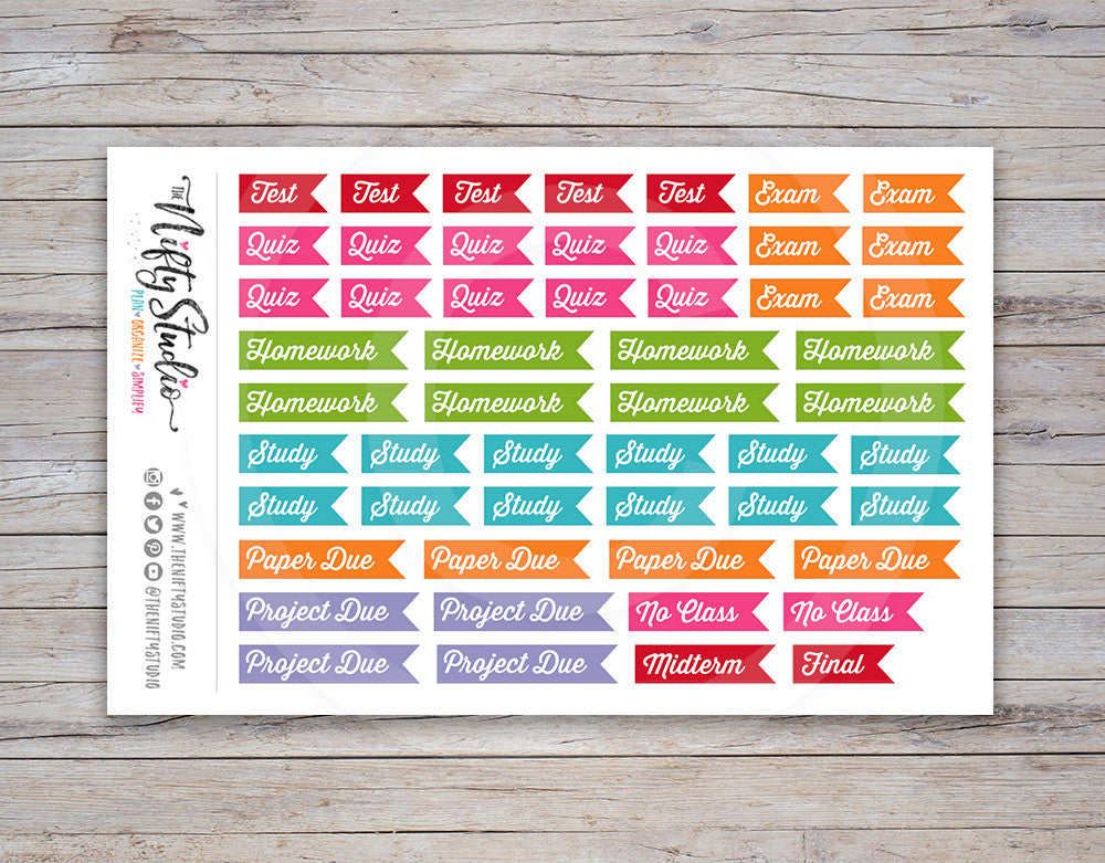 College Flag Planner Stickers Multi [201]