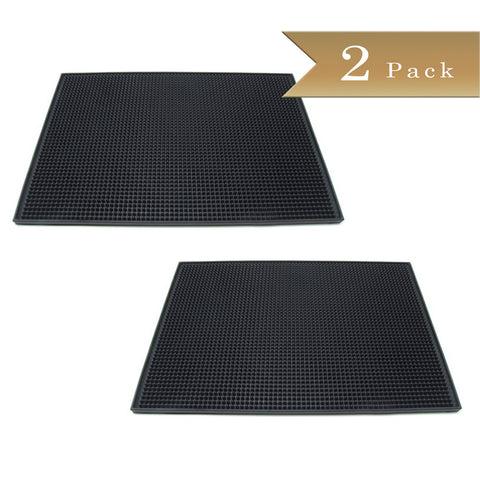 Set of 2 - True Craftware - Black Large Rubber Bar Service No-Slip Mat 18 x 12