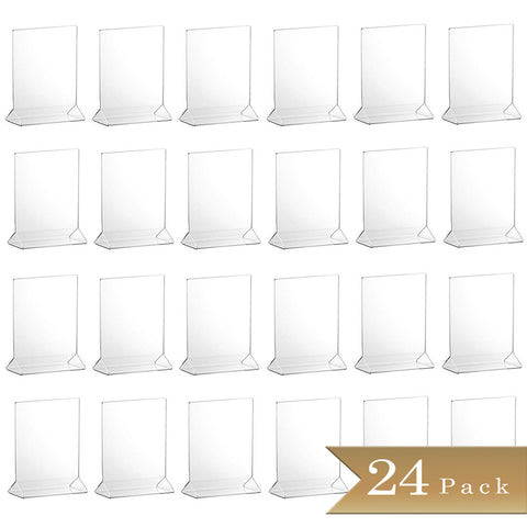 TrueCraftware Clear Acrylic Menu Sign Photo Table Holders - Upright Table Desk Displays - 4 x 6 Inches (Set of 24)