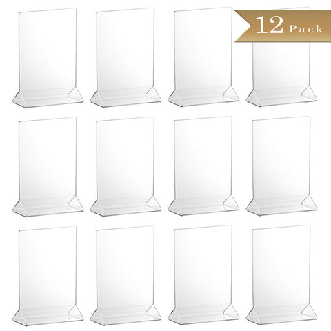 TrueCraftware Clear Acrylic Menu Sign Photo Table Holders - Upright Table Desk Displays - 5 x 7 Inches (Set of 12)