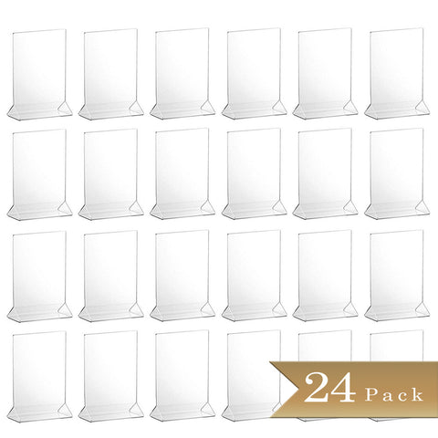 TrueCraftware Clear Acrylic Menu Sign Photo Table Holders - Upright Table Desk Displays - 5 x 7 Inches (Set of 24)