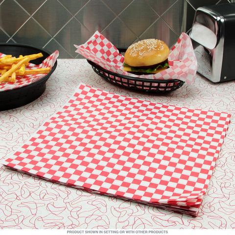 TrueCraftware Red Checkered Deli Basket Liners / Greaseproof Paper - 12 x 12
