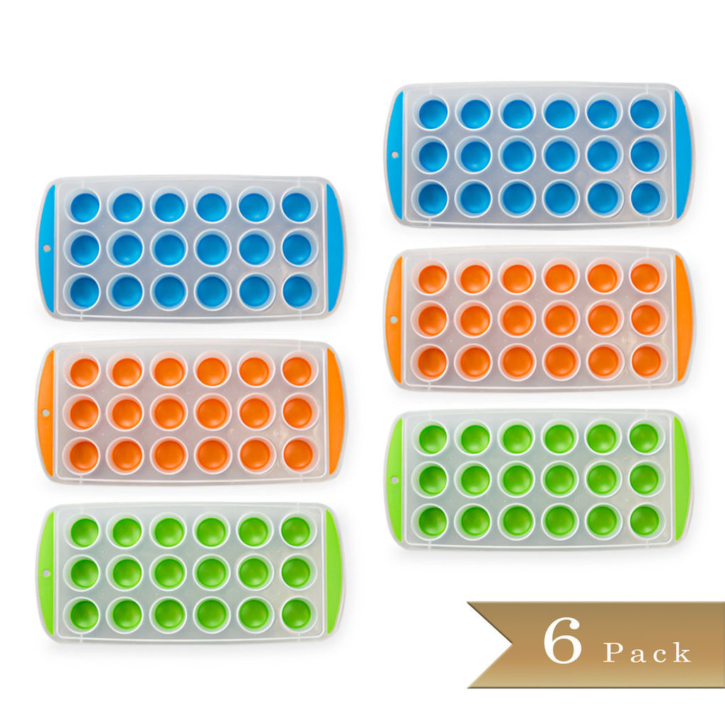 "Set of 6 - True Craftware Easy Push Out Ice Cube Molds / Pop Out Ice Cube Trays - Assorted Colors - 9.5"" Pop Out Ice Trays"