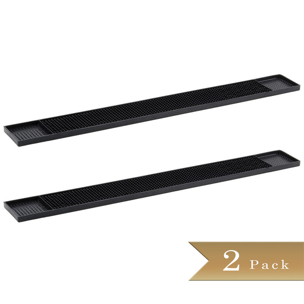 Set of 2 - True Craftware - Black Long Rubber Bar Service No-Slip Mat 27 x 3""