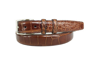 Classic Alligator Mens Belt, Cognac - Accenti Leather